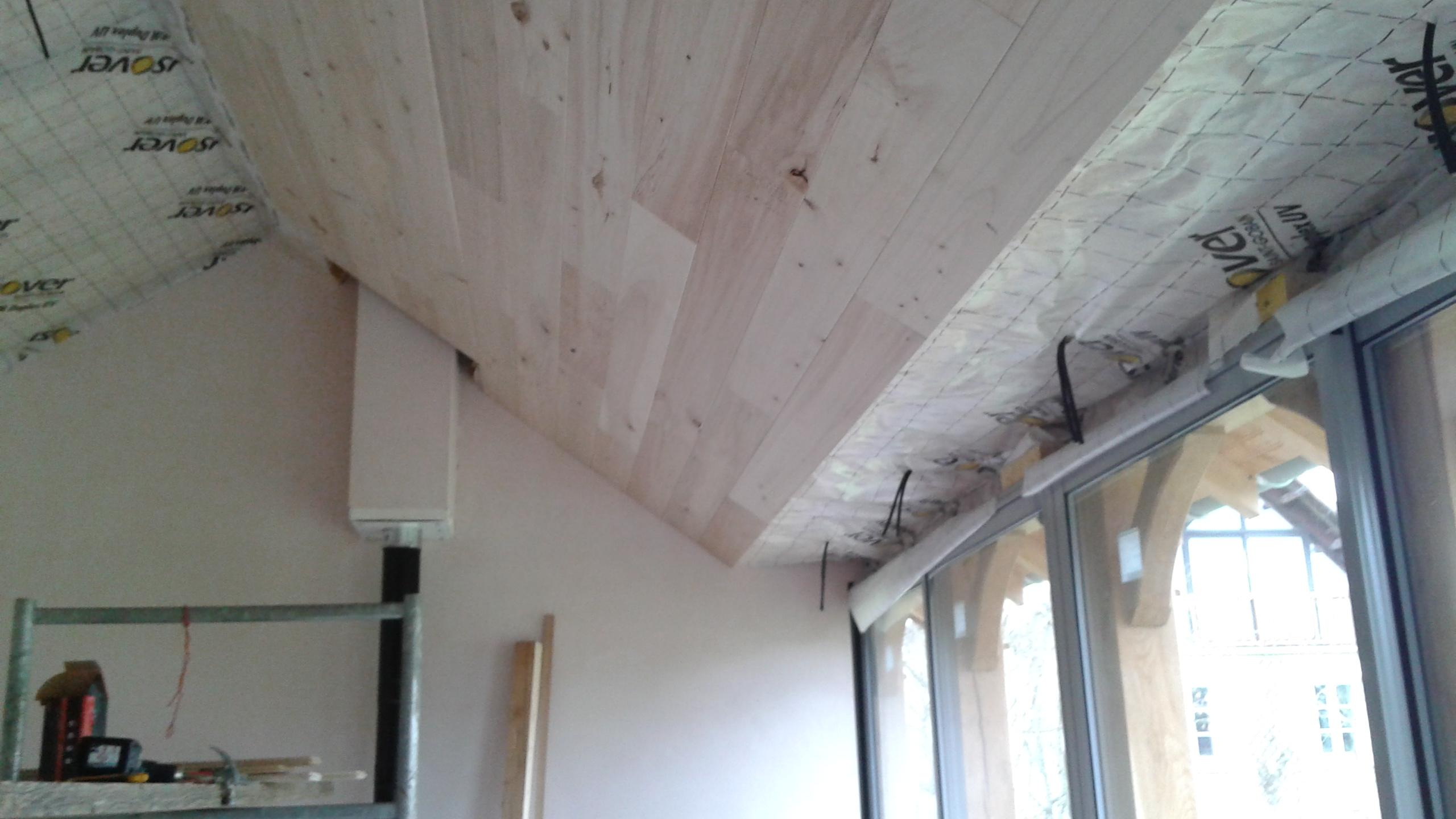 combles isolation de rampants et pose de lambris bois peuplier. Black Bedroom Furniture Sets. Home Design Ideas