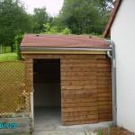 Construction d'un abri de jardin. Ossature sapin et bardage clin extérieur.
